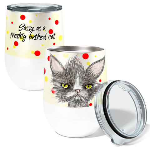 Sassy Bath Cat 12oz Stemless Insulated Stainless Steel Wine Tumbler