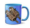 Sea Otters Holding Hands Blue Mug