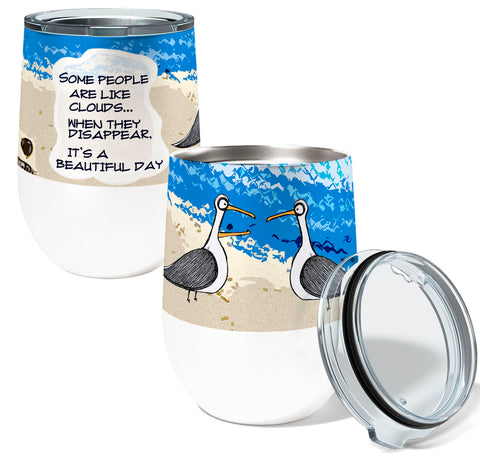 Seagull Clouds 12oz Stemless Insulated Stainless Steel Wine Tumbler
