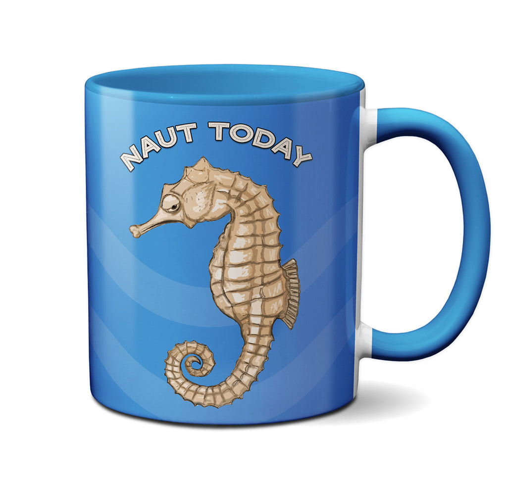 Seahorse Naut Today Blue Mug by Pithitude