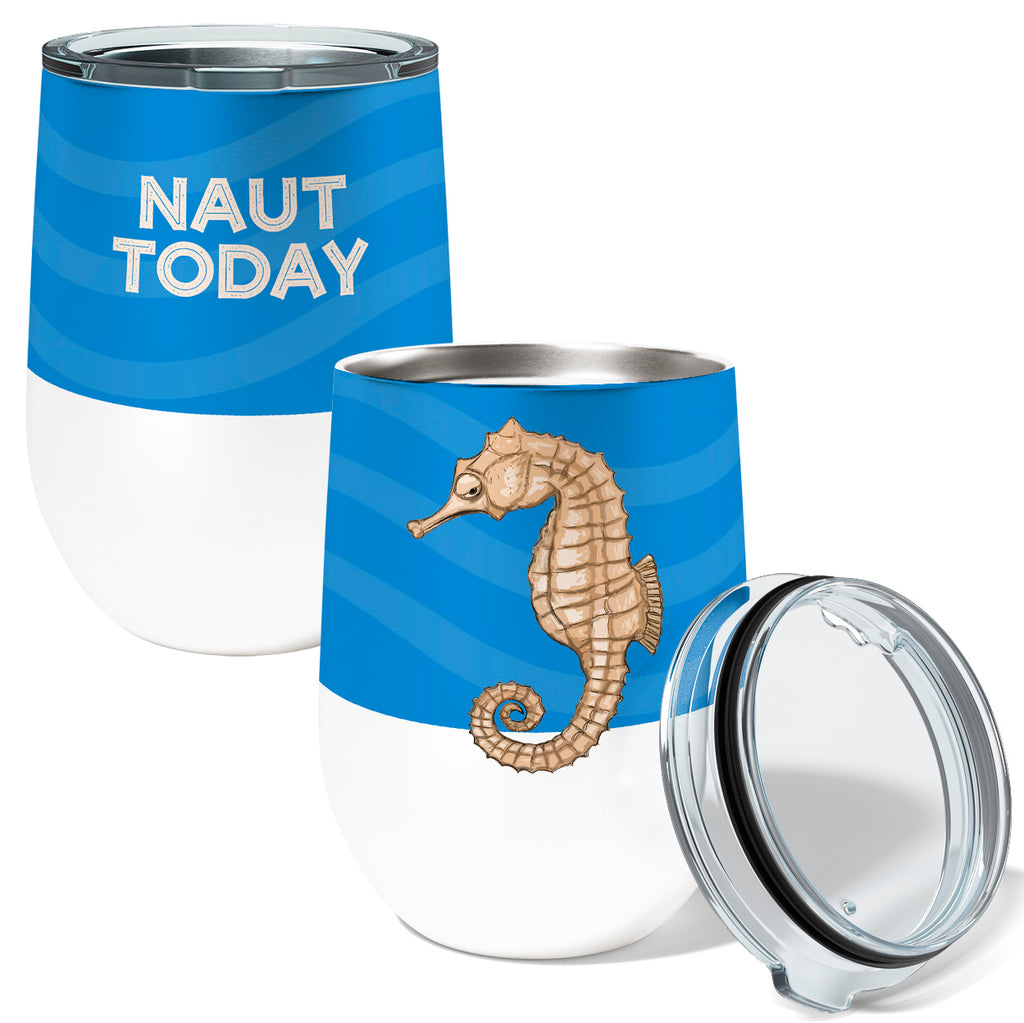Seahorse Naut 12oz Stemless Insulated Stainless Steel Wine or Coffee Tumbler