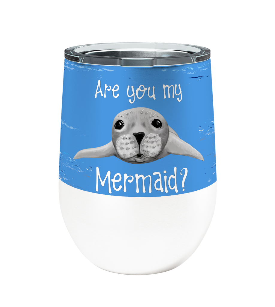 Seal Mermaid 12oz Stemless Insulated Stainless Steel Wine or Coffee Tumbler