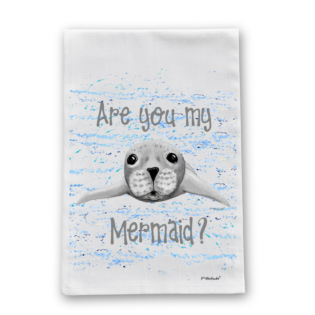 Seal Mermaid Flour Sack Dish Towel