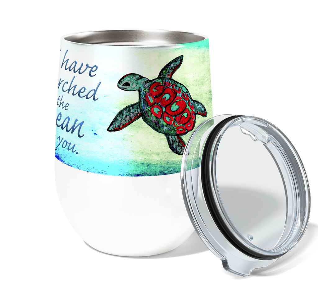 Searching Sea Turtles 12oz Stemless Insulated Stainless Steel Wine or Coffee Tumbler