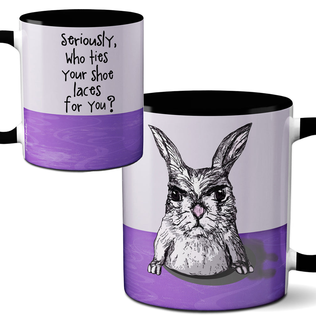 Helpless Hare Black Coffee Mug by Pithitude