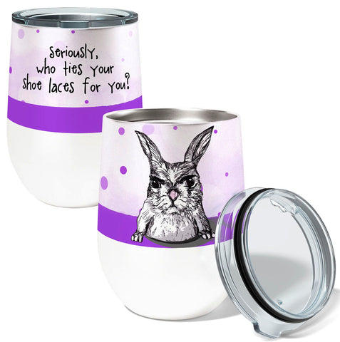 Shoe Laces Rabbit 12oz Stemless Insulated Stainless Steel Wine or Coffee Tumbler