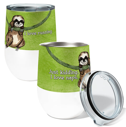 Sloth Running 12oz Stemless Insulated Stainless Steel Wine or Coffee Tumbler
