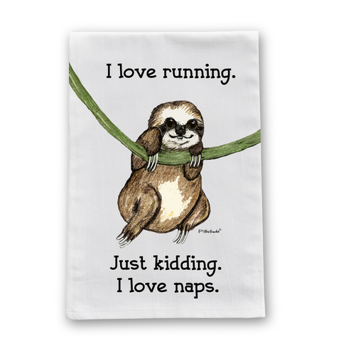 Sloth Running Flour Sack Dish Towel