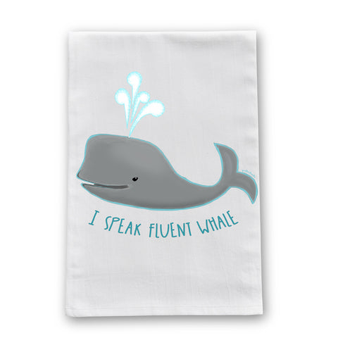 Speak Fluent Whale Flour Sack Dish Towel