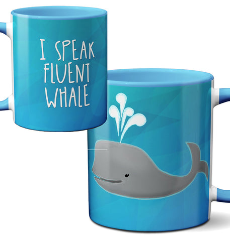 Speak Fluent Whale Blue Mug