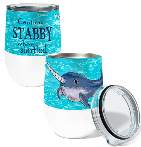 Stabby Narwhal 12oz Stemless Insulated Stainless Steel Wine or Coffee Tumbler