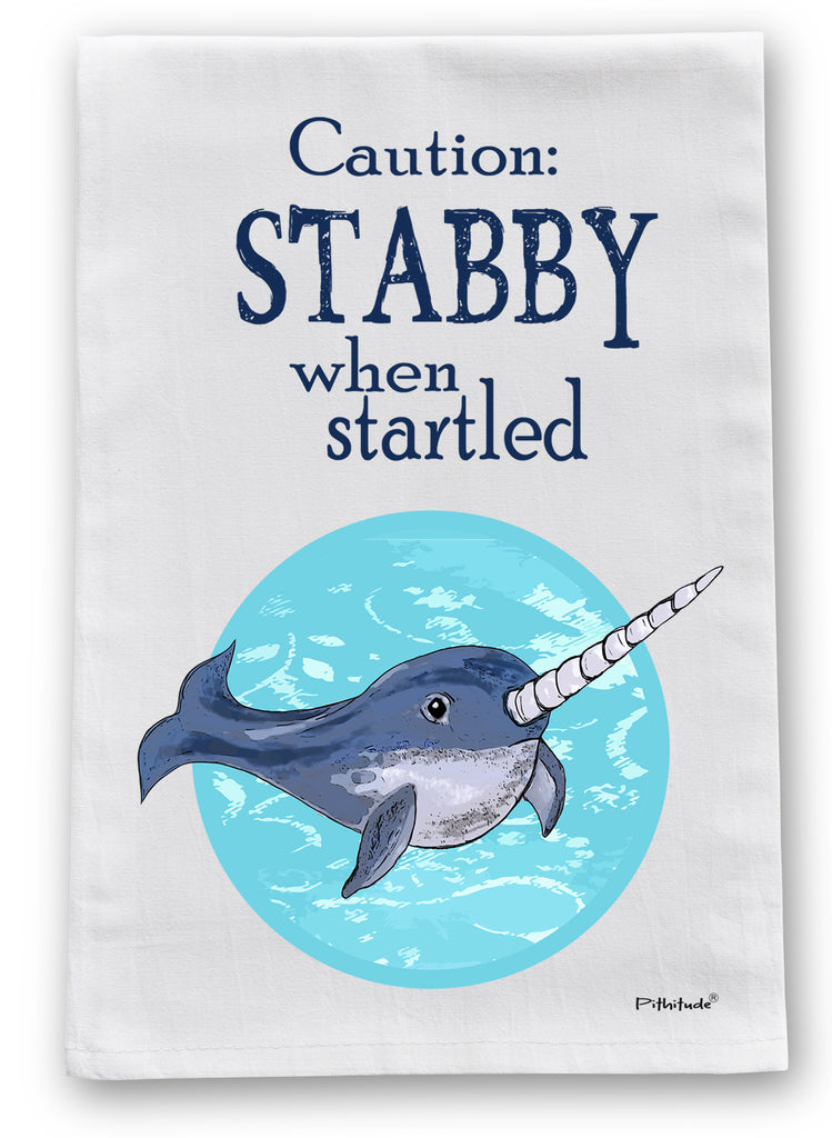 Stabby Narwhal Flour Sack Dish Towel