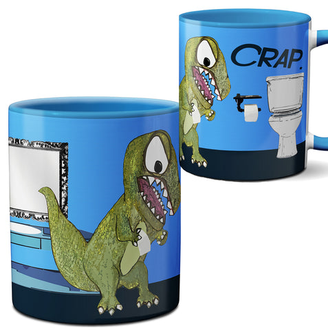 T Rex Crap Blue Mug Cup