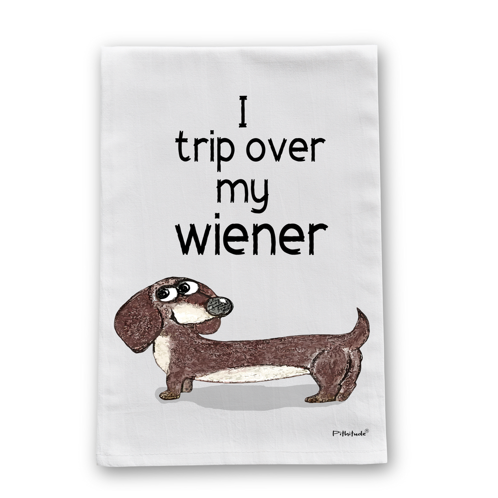 Wiener Dog Tripping Flour Sack Dish Towel