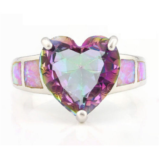 2.20ctw Mystic Topaz & Pink Opal .925 Sterling Silver ring -  New Fashion Finds By Carole