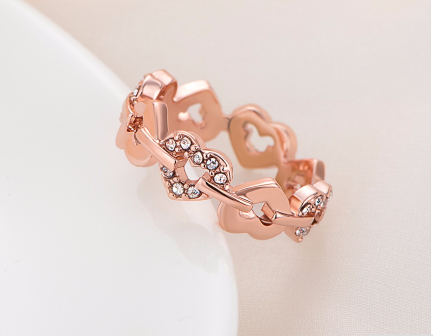 Rose Gold Plating Hearts encircling the Ring With CZ Crystals. -  New Fashion Finds By Carole