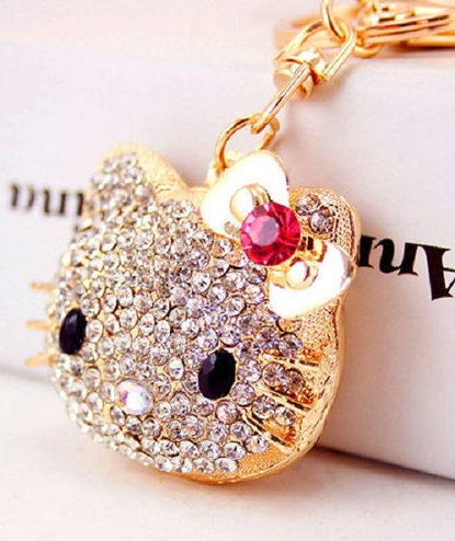 Crystal Gold Plated Cute Key Ring keychain figurine / purse charm!!! -  New Fashion Finds By Carole