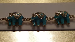 Teal Enamel Elephant Bracelet -  New Fashion Finds By Carole
