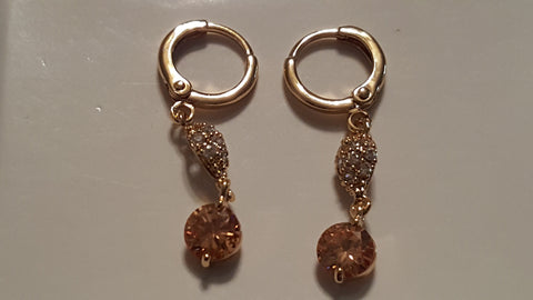 Gold & Pink Swarovski Earrings -  New Fashion Finds By Carole