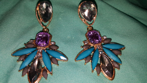 18K Gold Plated Gold and Marcasite Drop Earrings