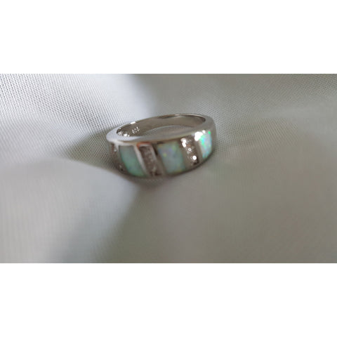 5.10ctw Genuine Mystic Gemstone & White Lab Opal, Solid .925 Sterling Silver Ring
