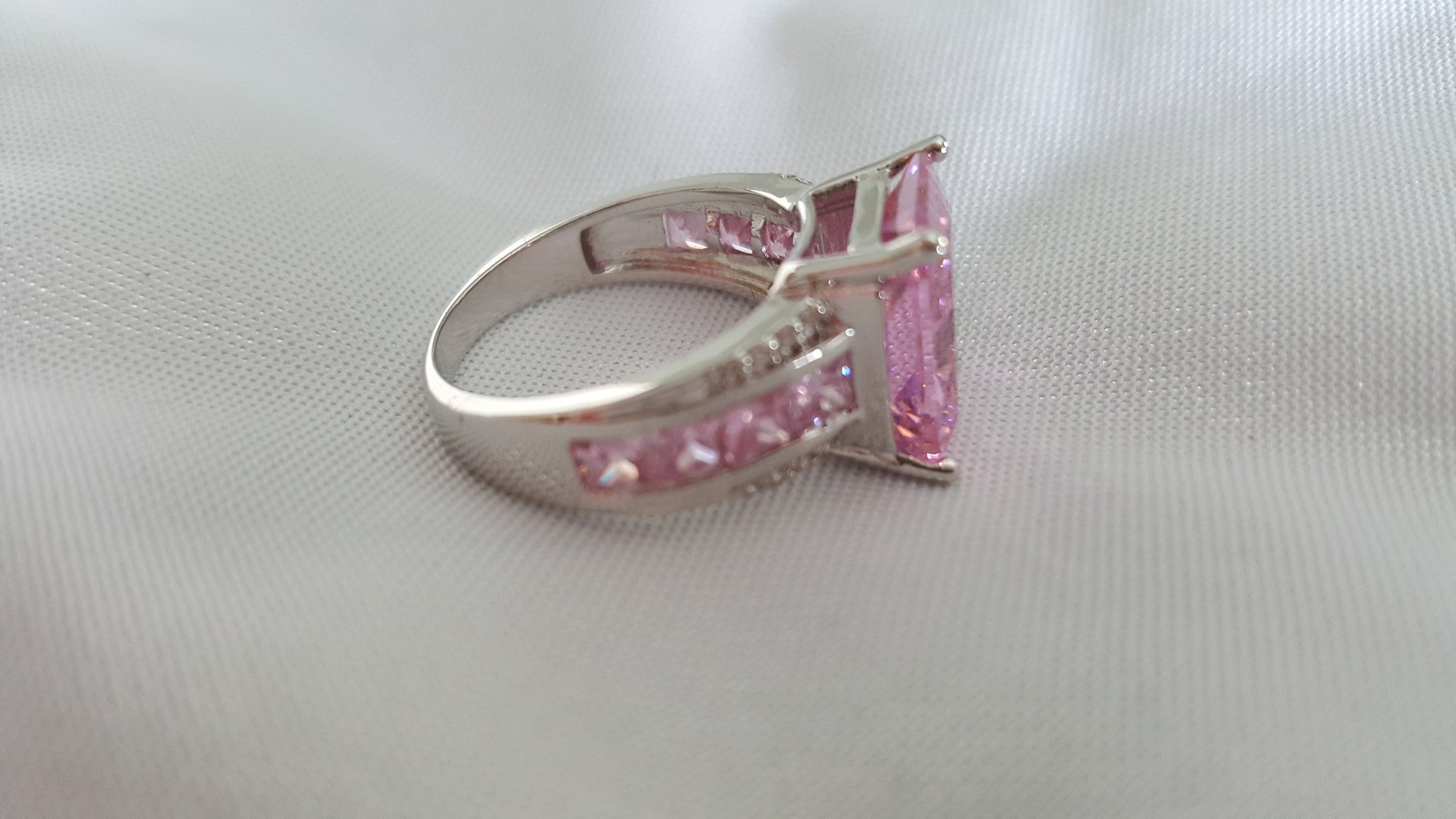 Rhodium Plated AAA Pink CZ  Beautiful Ring! -  New Fashion Finds By Carole