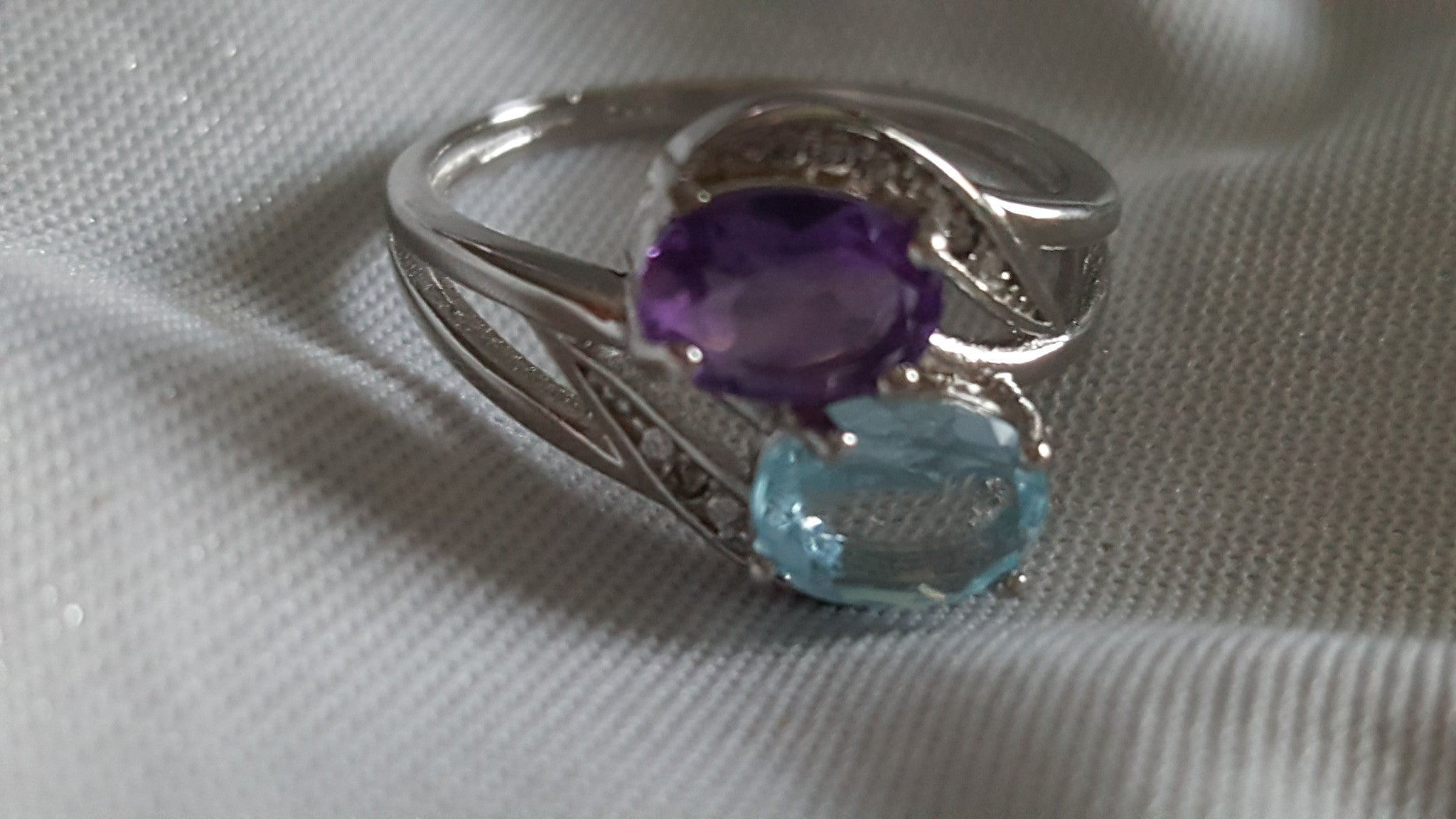 Solid .925 Sterling Silver 1.65ct Genuine Blue Topaz and Genuine African Amethyst -  New Fashion Finds By Carole