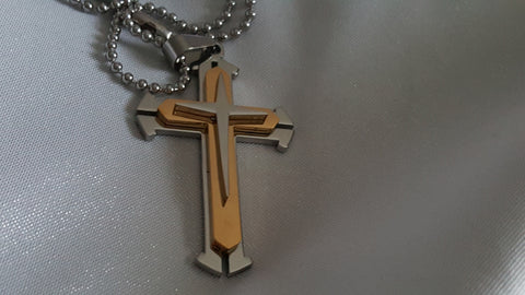 Men's or Women's Gold Silver Stainless Steel Cross Pendant Necklace -  New Fashion Finds By Carole
