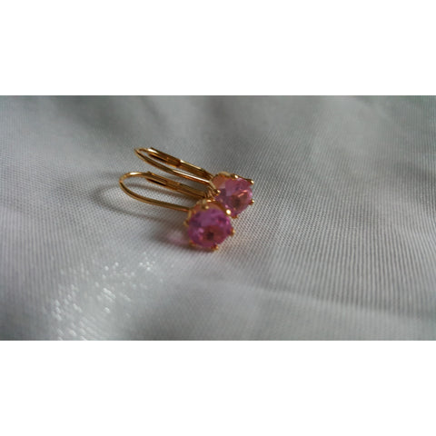 18K Gold Genuine 2 Carat Pink Sapphire Earrings -  New Fashion Finds By Carole