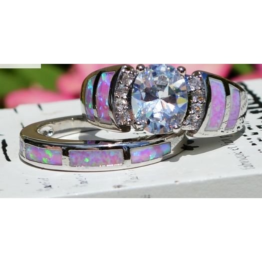 Beautiful wedding set, Pink CZ and lab created pink Opal. -  New Fashion Finds By Carole