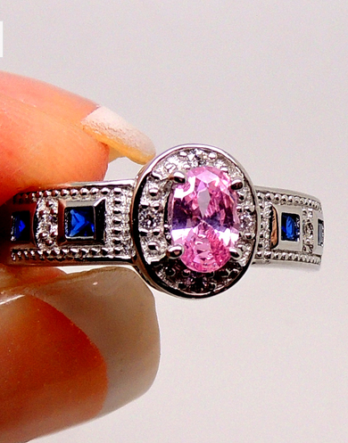 Jules Sterling Silver Pink and Blue Cubic Zirconia Ring -  New Fashion Finds By Carole