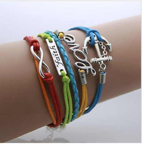 Multi-colored Anchor,Love, Faith, Infinity leather bracelet Bohemian Jewelry lobster clasp -  New Fashion Finds By Carole