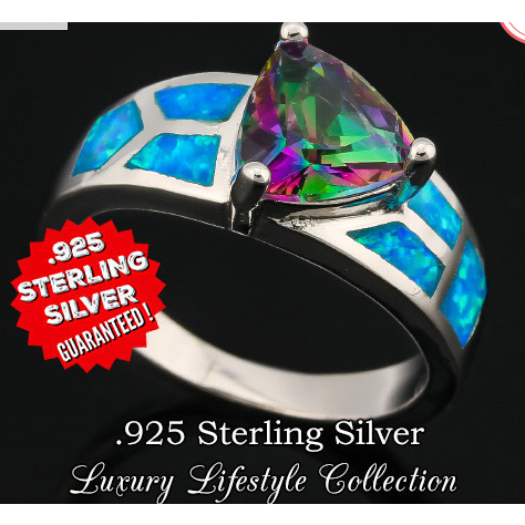 2.30ctw Mystic Topaz & Blue Opal .925 Sterling Silver -  New Fashion Finds By Carole