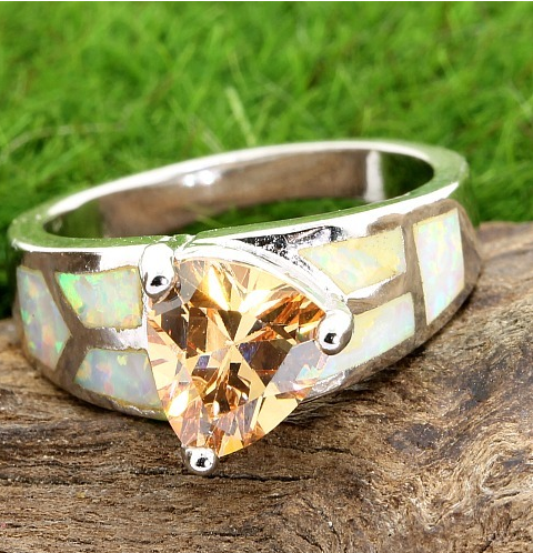 Solid .925 Sterling Silver. It contains 2.70ctw Genuine Citrine and Lab Opal. -  New Fashion Finds By Carole