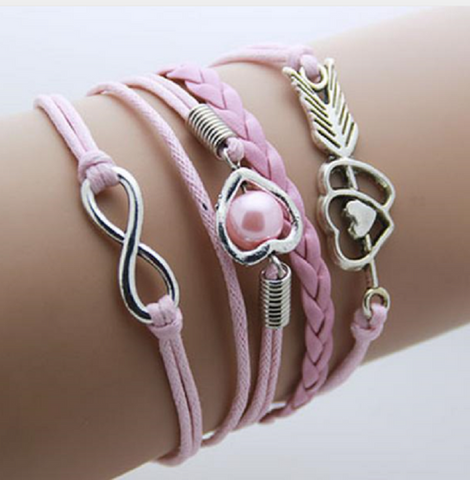 Multi-colored Anchor,Love, Faith, Infinity leather bracelet Bohemian Jewelry lobster clasp