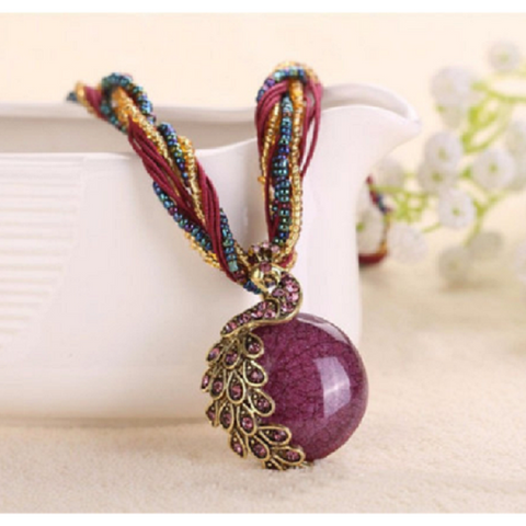 Beautiful Violet Peacock String Choker/Necklace -  New Fashion Finds By Carole