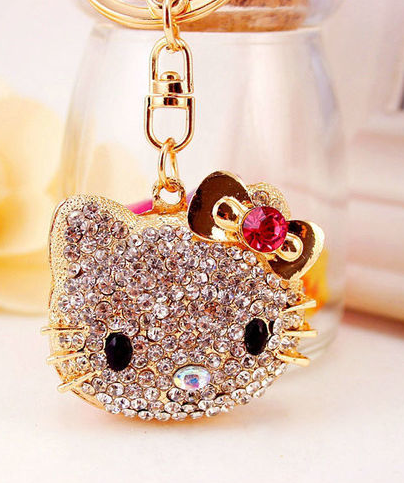 Crystal Gold Plated Cute Key Ring keychain figurine   purse charm ... d009f41c00