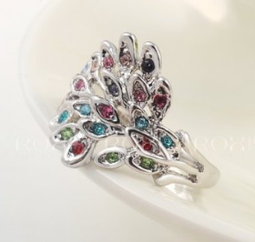 Sterling Silver  with white diamond  and Swarovski Peacock -  New Fashion Finds By Carole