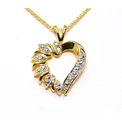 18K Gold Plated Diamond Heart Necklace -  New Fashion Finds By Carole