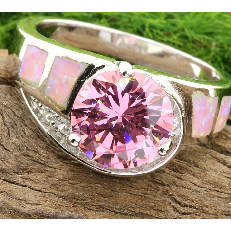 5.80ctw Genuine Pink Sapphire, Opal & White Topaz, Solid .925 Sterling Silver Ring -  New Fashion Finds By Carole