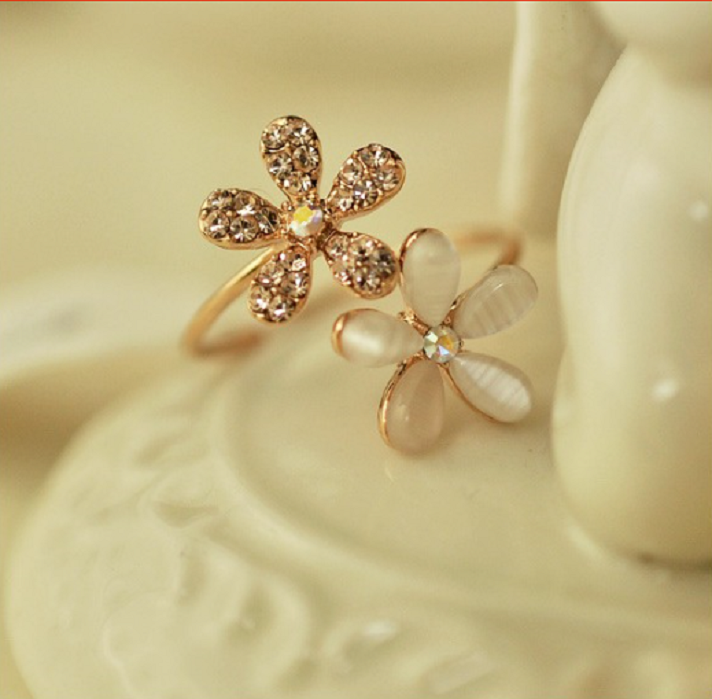 Hot Sell Fashion Opal Flowers Rings Adjustable Crystal Ring -  New Fashion Finds By Carole
