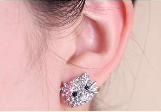 White Gold Plated with Austrian Crystals Hello Kitty Earrings -  New Fashion Finds By Carole
