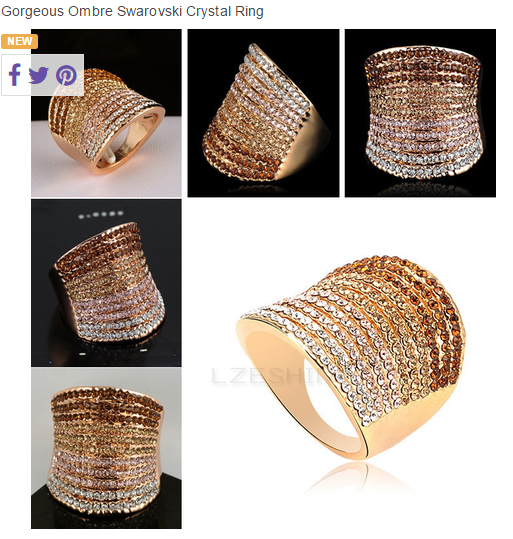 This ring features gorgeous swarovski crystals in a beautiful ombre / gradient design -  New Fashion Finds By Carole
