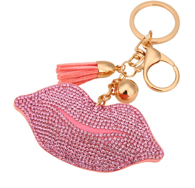 Cute Tassels Leather Keychain adorned with Clover Crystal on one side leather on the other -  New Fashion Finds By Carole