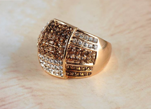 Chocolate, Champagne & Clear Genuine Austrian Crystal Ring in 18K GP -  New Fashion Finds By Carole