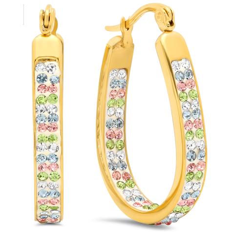 18k Gold Plated Multicolored In and Out CZ Hoops -  New Fashion Finds By Carole