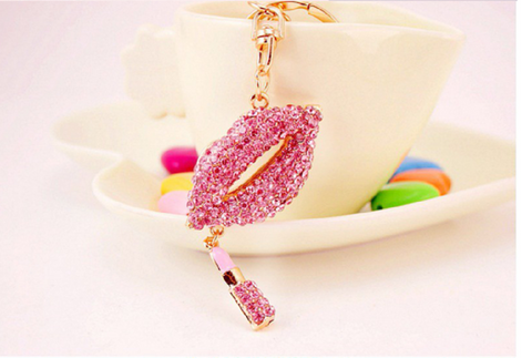 Creative Rhinestone Sexy Lips Lipstick Keychain, 18kt gold plated -  New Fashion Finds By Carole