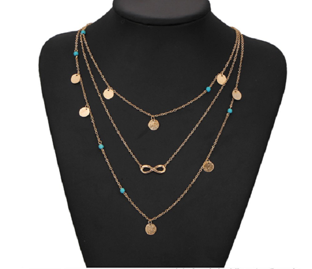 Turquoise Bohemia Bead Infinity Double Chain Pendant Necklace