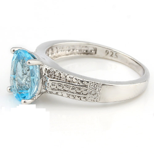 2.03ctw Genuine Blue Topaz With Diamond, Solid .925 Sterling Silver ring -  New Fashion Finds By Carole