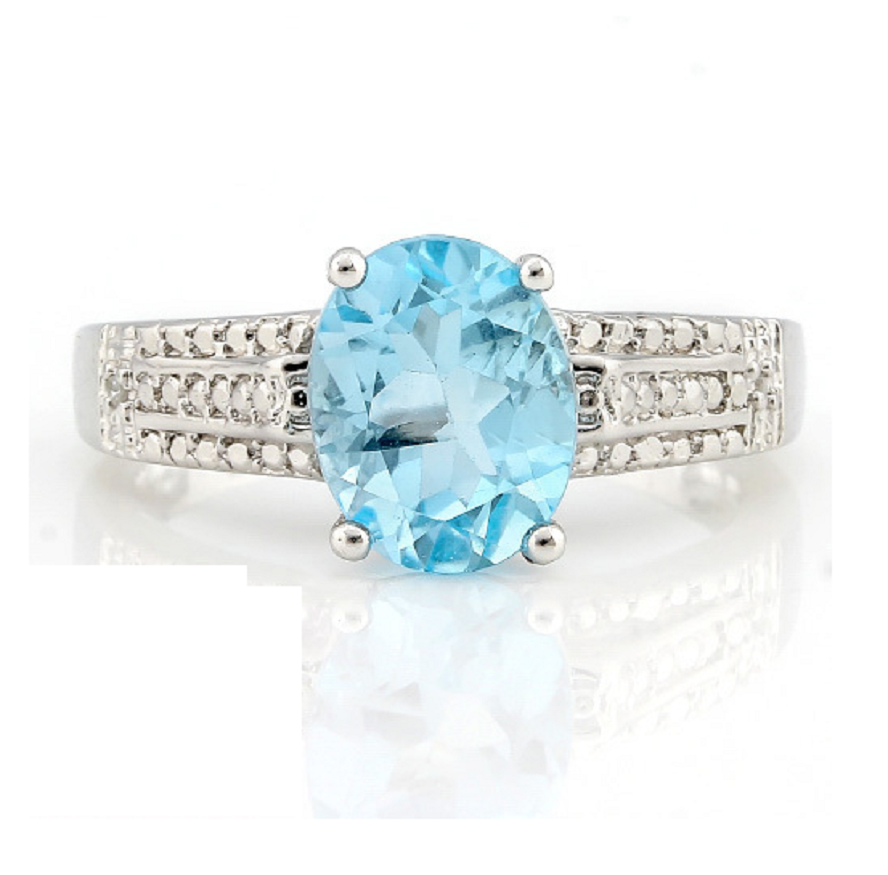 Solid .925 Sterling Silver 5.0CT Genuine Blue Topaz and Diamond Ring -  New Fashion Finds By Carole